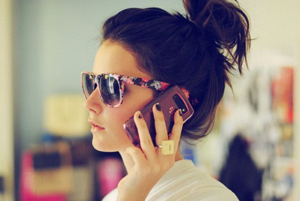 efdvbp-l-610x610-sunglasses-floral-floral+sunglasses-phone-blackberry-ring-indie-hair-brunnette-bun-messy+bun-summer