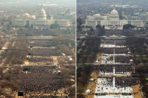 A composite image shows the inauguration crows for Barack Obama in 2009, left, and Donald Trump in 2017. Photograph by Emily Barnes—Getty Images; Lucas Jackson—Reuters