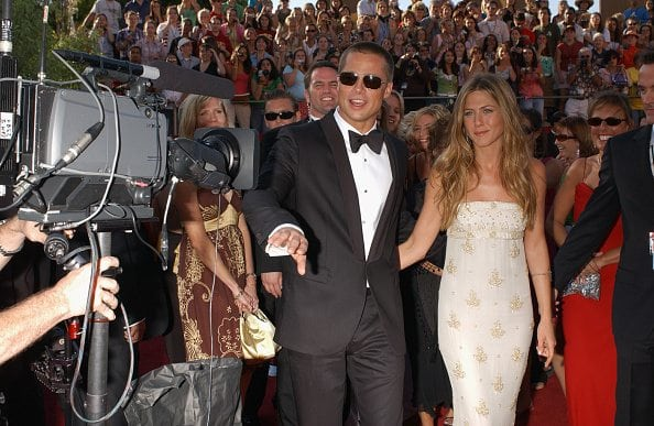 Brad Pitt and Jennifer Aniston arrive at the 56th annual Primetime Emmy Awards. (Photo by Frank Trapper/Corbis via Getty Images)