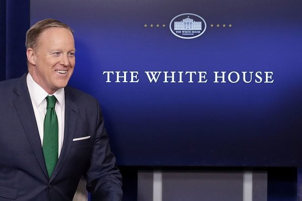WASHINGTON, DC - MARCH 16: White House Press Secretary Sean Spicer arrives for the daily press briefing in the Brady Press Briefing Room at the White House March 16, 2017 in Washington, DC. Spicer accused the news media of 'cherry-picking' information regarding President Donald Trump's accusation that former President Barack Obama wire-tapped Trump Tower. (Photo by Chip Somodevilla/Getty Images)