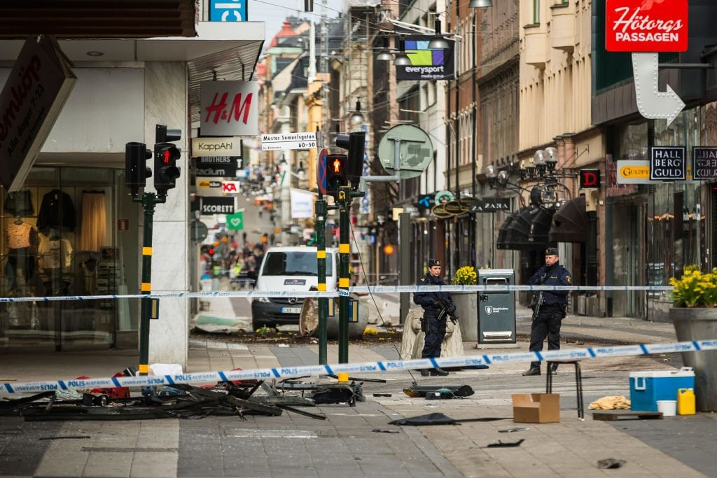 Aftermath of Stockholm Truck Attack
