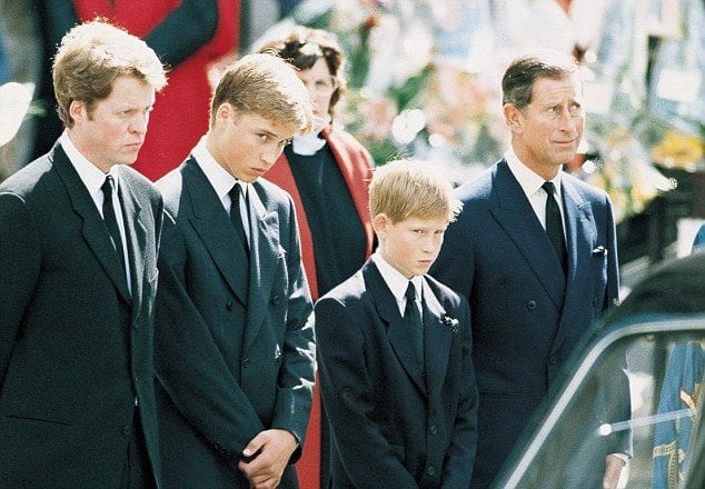 Prince Harry and family on the funeral on Princess Diana