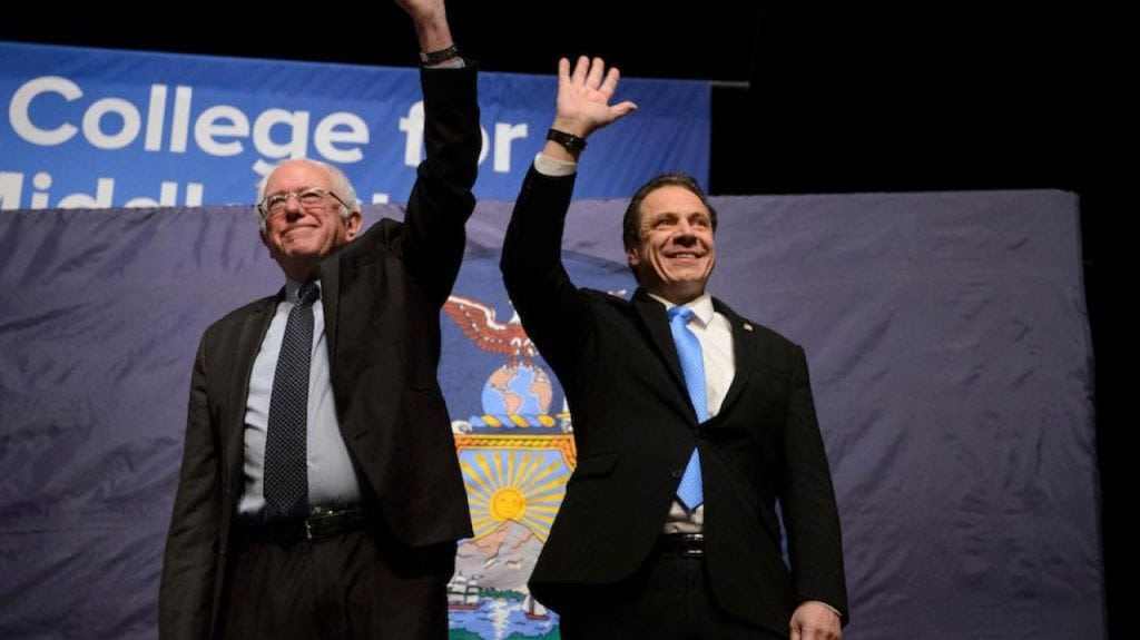 Bernie Sanders and Andrew Cuomo in New York