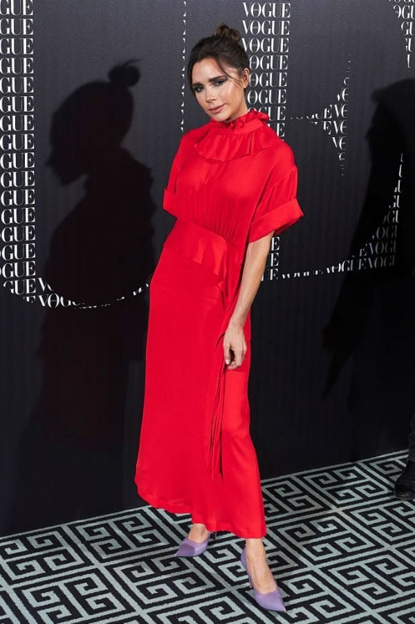 victoria beckham vogue spain red dress