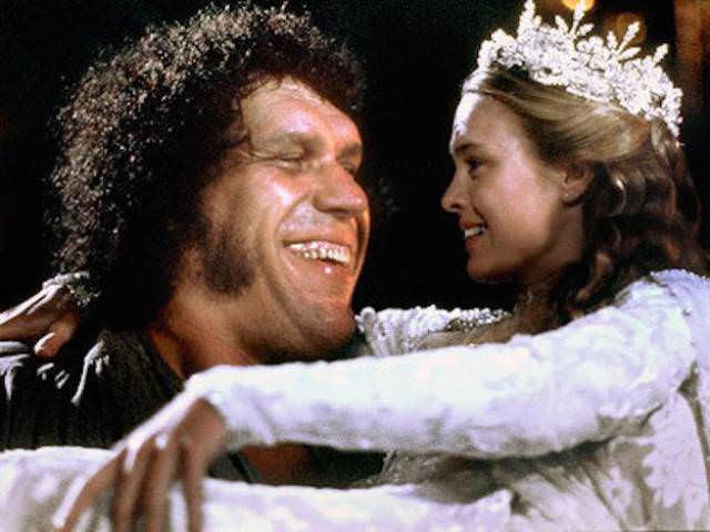 andre the giant roussimoff princess buttercup robin wright penn princess buttercup holding wires pain wrestling wrestler actor