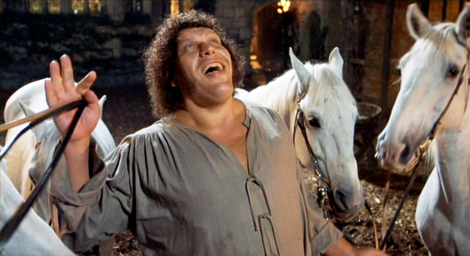 andre roussimoff andre the giant laughing smiling the princess bride horse wrestler wrestling