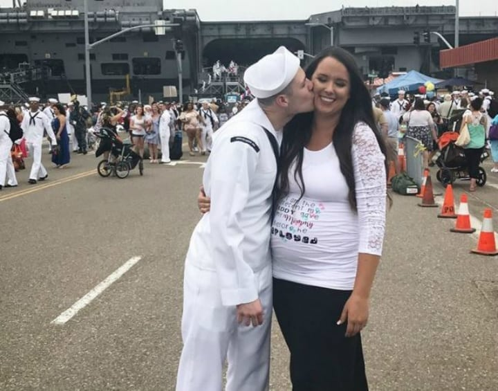 navy husband - pregnant wife