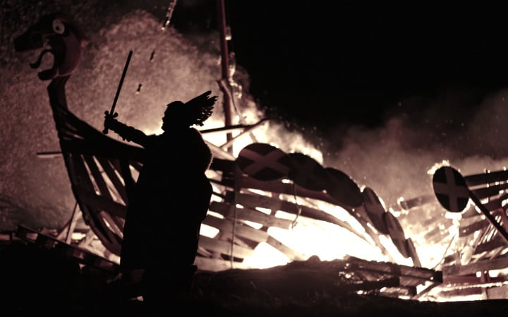 vikings ship fire